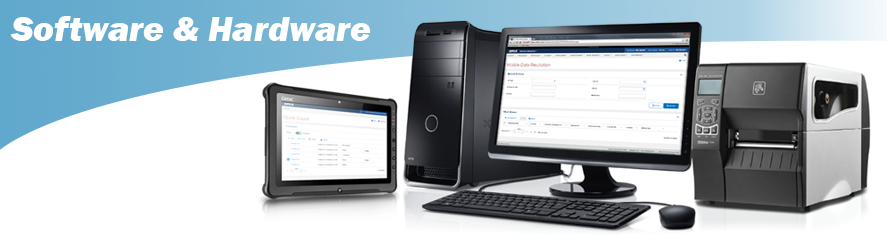 Software & Hardware Title Header with Computer and Tablet and Printer